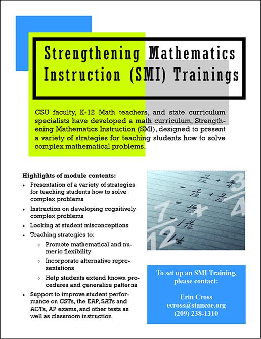 Math Professional Development California State University Stanislaus