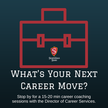 graphic with text: What's your next career Move? Stop by for a 15-20 min career coaching session with the Director of Career Services