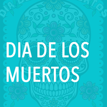 Graphic of a candy skull with text over it: Dia de los muertos
