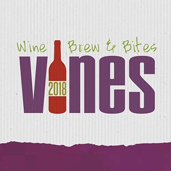 graphic with text: Wine, Brew & Bites. Vines 2018.