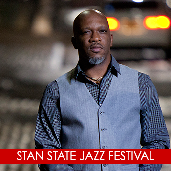 graphic with text: 2018 Stan State Jazz Festival featuring Orrin Evans Trio