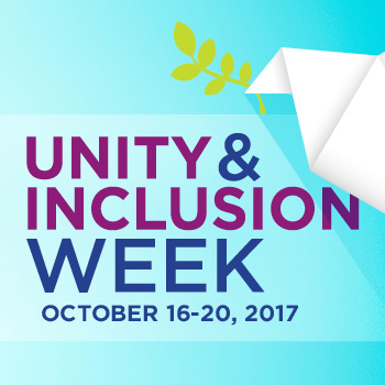 graphic with text: Unity & Inclusion Week, October 16-20, 2017