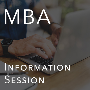 graphic of student on laptop with text: WORKSHOP: MBA Information Session