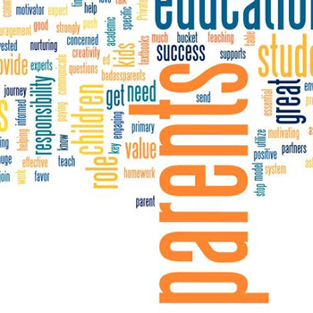 Graphic with text: positive words: Parents, great, value, get, need, primary, value, success
