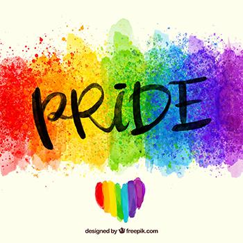 rainbow image with text: PRIDE, Designed by Freepik