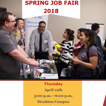 Spring Job Fair- Stockton Campus April 12 from 3-6 pm