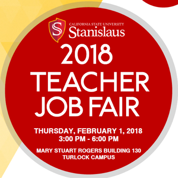 Red circle on white graphic with text: 2018 teacher job fair; Thursday, February 1 2018 3:00 pm - 6:00 pm Mary stuart rogers building 130 Turlock campus