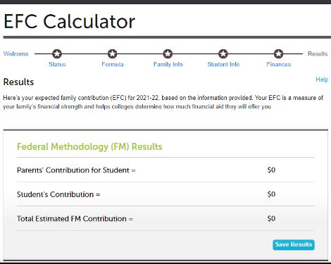 Screengrab of EFC Calculator
