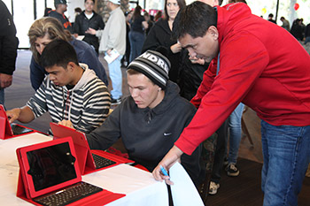 students filling out application