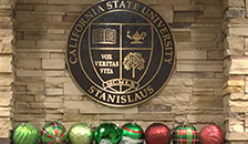 university seal with holiday decorations