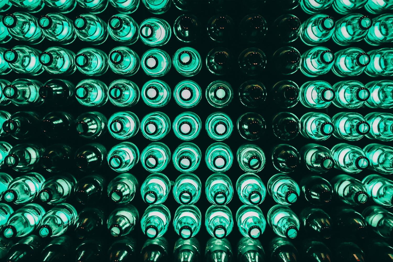 Glass bottles lit up.