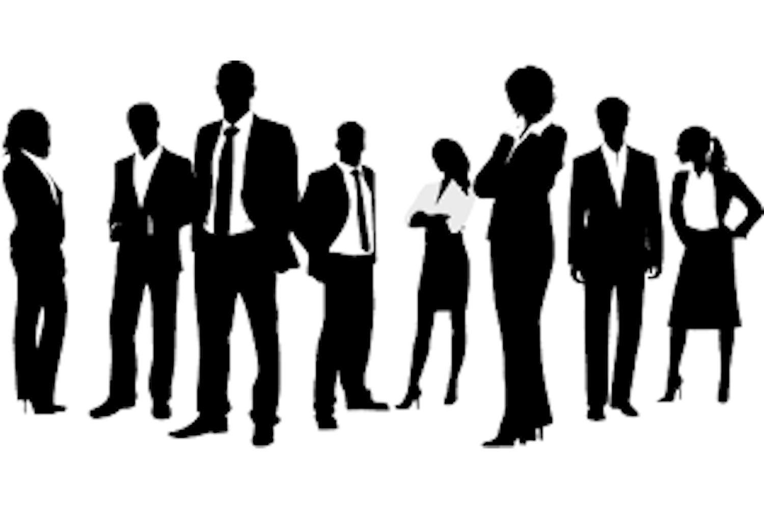 Silhouettes of students in business attire.