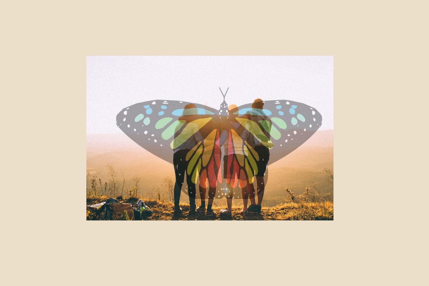Image of friends and butterfly.