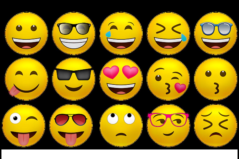 Various emojis.