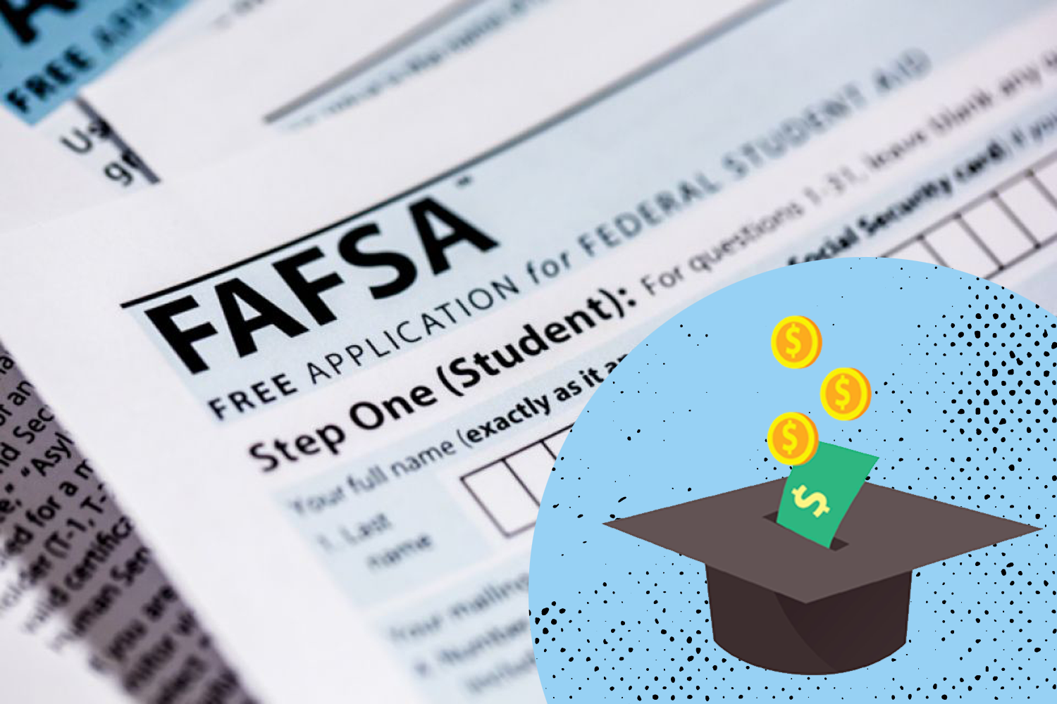 FAFSA application with financial aid illustration