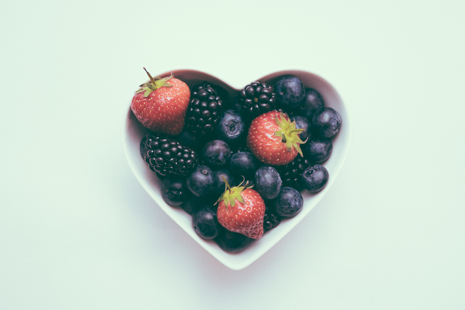 heart bowl with fruit
