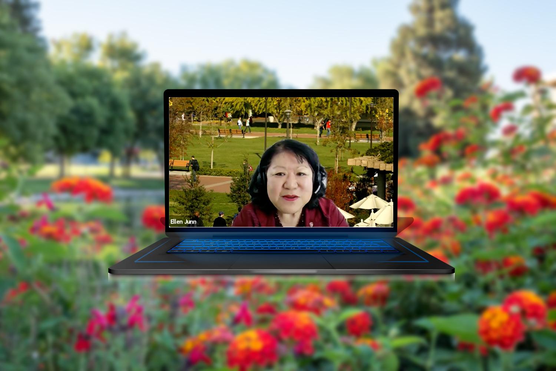 President Junn on laptop screen.