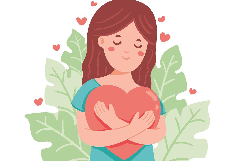 Girl hugging a heart.