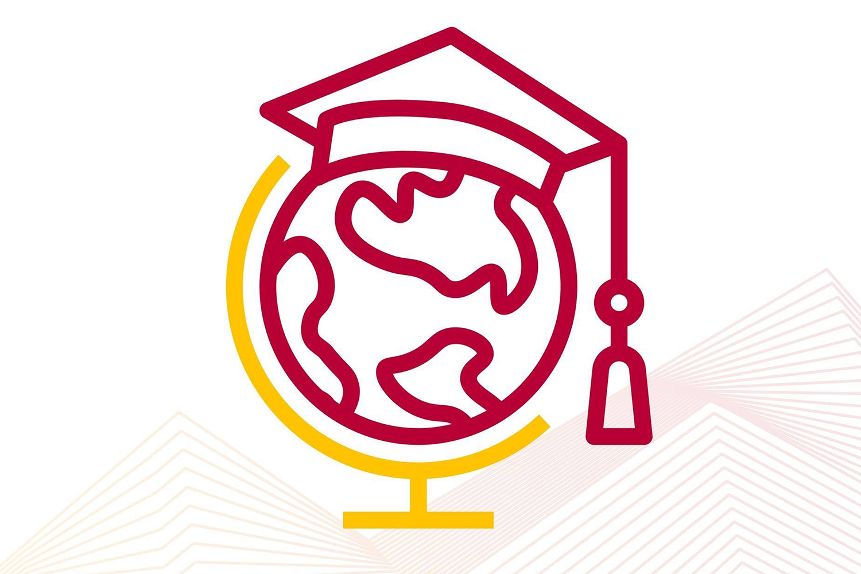 Globe with graduation cap.