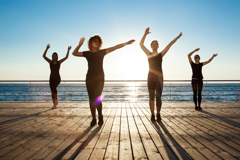 Women dancing Zumba.