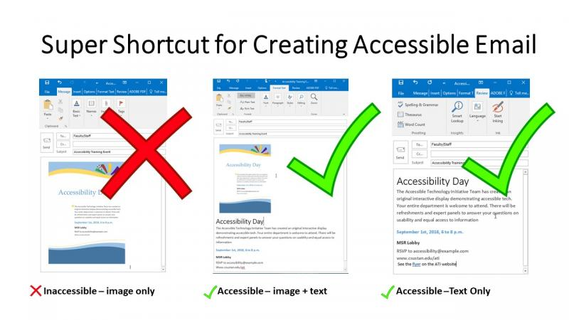 Super Shortcut for Creating Accessible Email - don't use an image only. Use an image plus text or only text to ensure accessibility.