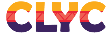 Bright yellow, red and purple CLYC logo