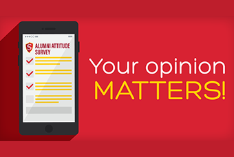 graphic with text: Alumni Attitude Survey, Your Opinion Matters