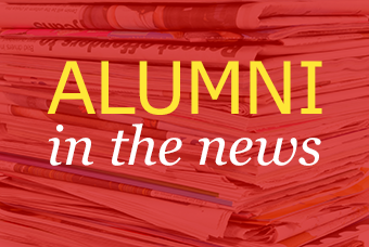 graphic with text: Alumni in the news