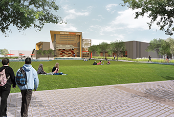 Alumni Plaza rendering with bricks