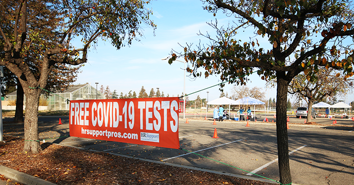 COVID-19 testing site in parking lot 11