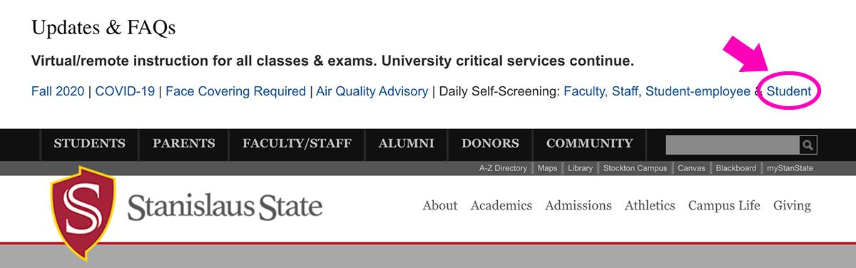 Screengrab of the top of the University header