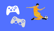 Vector graphic of two console controllers and a soccer player.