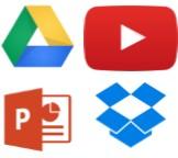 youtube, powerpoint, dropbox, drive