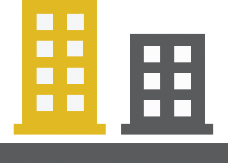 yellow and gray buildings icon