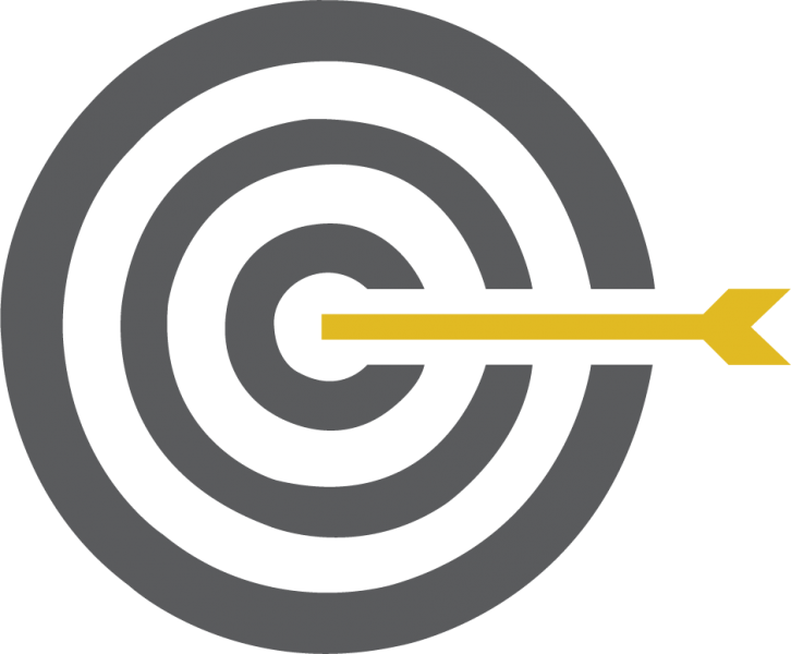 gray target with yellow arrow in center