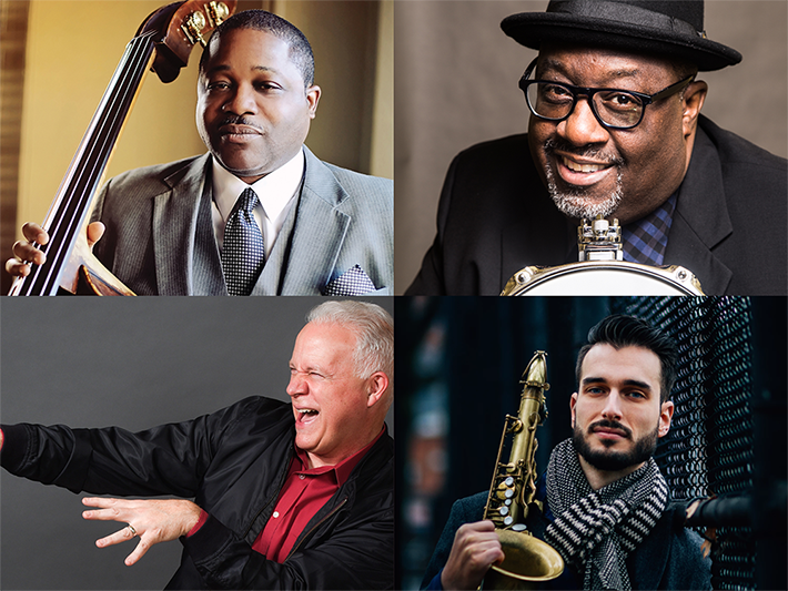 JAZZ@STANSTATE 2020 featuring images of Carl Allen, Rodney Whitaker, Chad Lefkowitz-Brown, & Joe Gilman