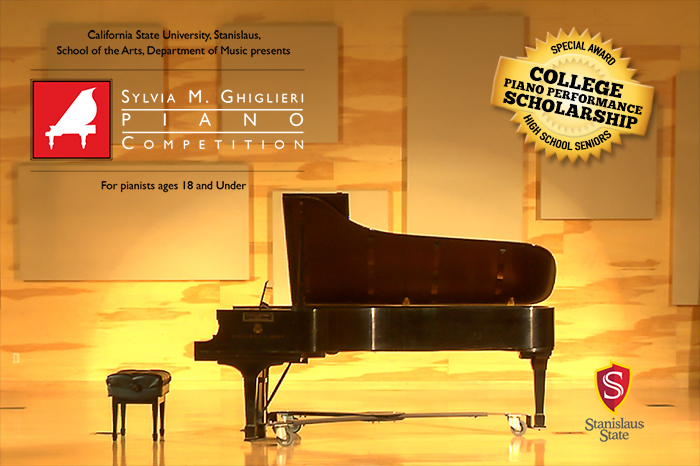 "Competition poster graphic with words ""Sylvia M. Ghiglieri Piano Competition"