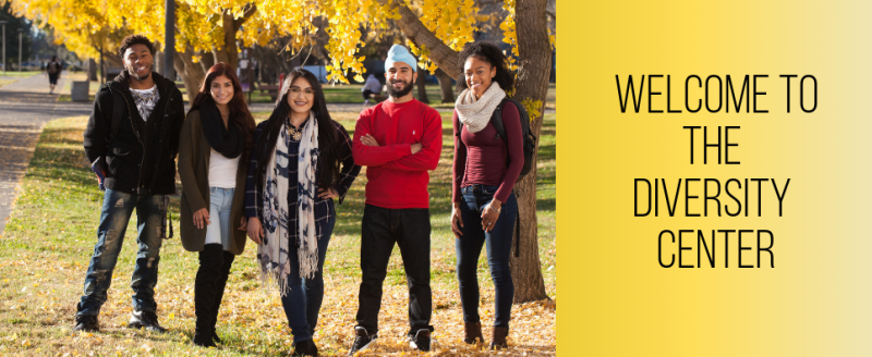 Group of five students pose in group photo. Welcome to the Diversity Center.