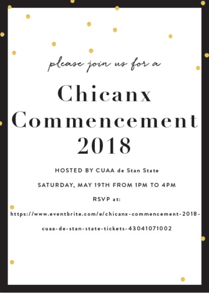 Chicanx commencement 2018 invite flier