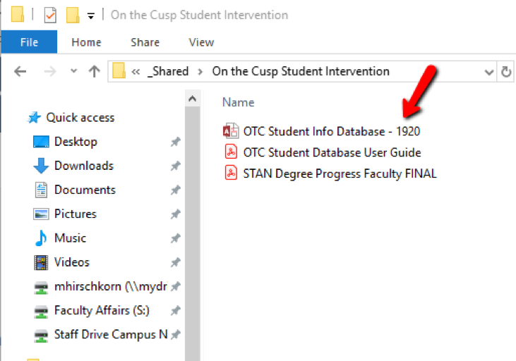 The network path to access the On-the-Cusp Student Information Database is displayed