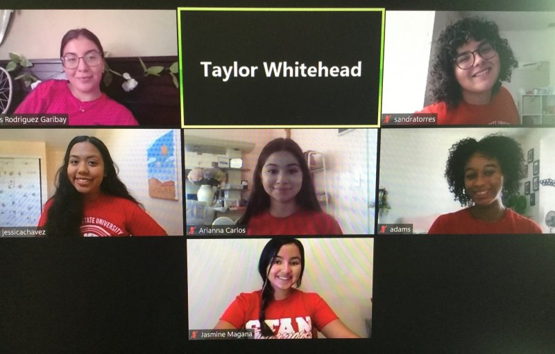 2020-2021 Peer Health Educators. First Row (L to R), Iris Rodriguez Garibay & Sandra Torres; Second Row (L to R), Jessica Chavez, Arianna Carlos, & Jada Adams; Third Row (L to R), Jasmine Magan̅a