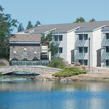 Housing Building and pond