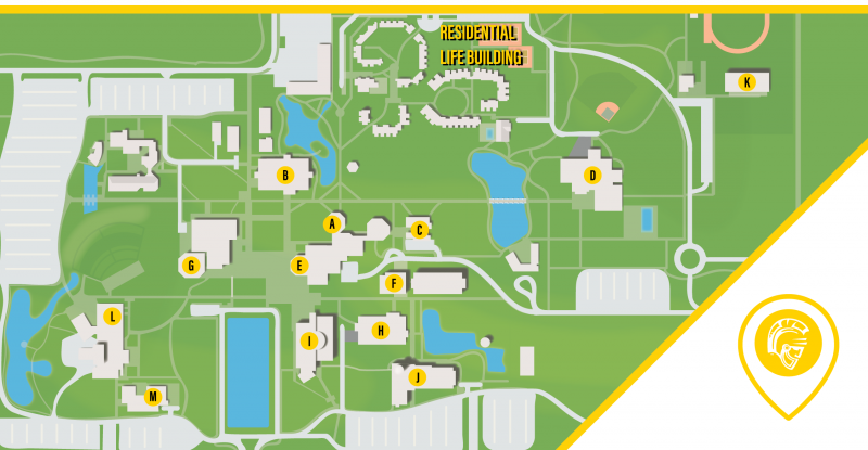 Campus map with icons to designate distance from housing to specific locations such as Student Union, Bizzini Hall, Health Center, etc.