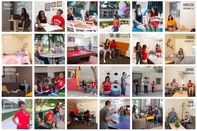 Collage of eight diverse housing students and their unique experience living on campus.