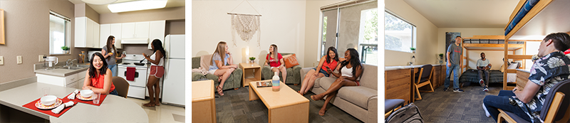 Collage of three interior photos with student in an apartment: kitchen, living room and bedroom.