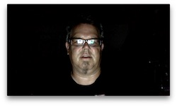 Example of dark video with glasses glare reflections