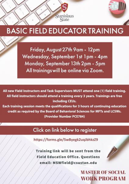 Basic Field Educator Training flyer