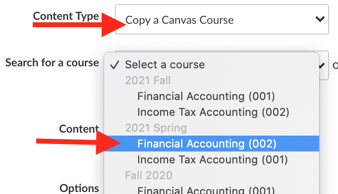 copy a canvas course and choose the course from your list of courses