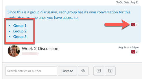 the instructor view of a group discussion showing the message badge on the right and the list of groups on the left.