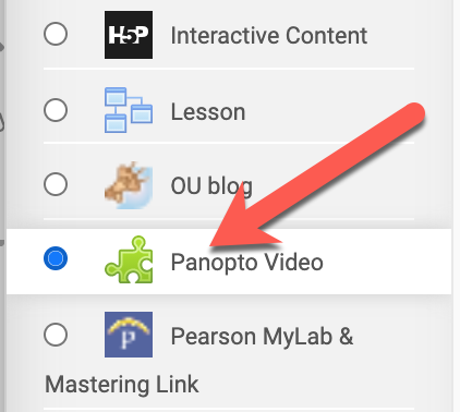 Moodle activity chooser with Panopto video highlighted